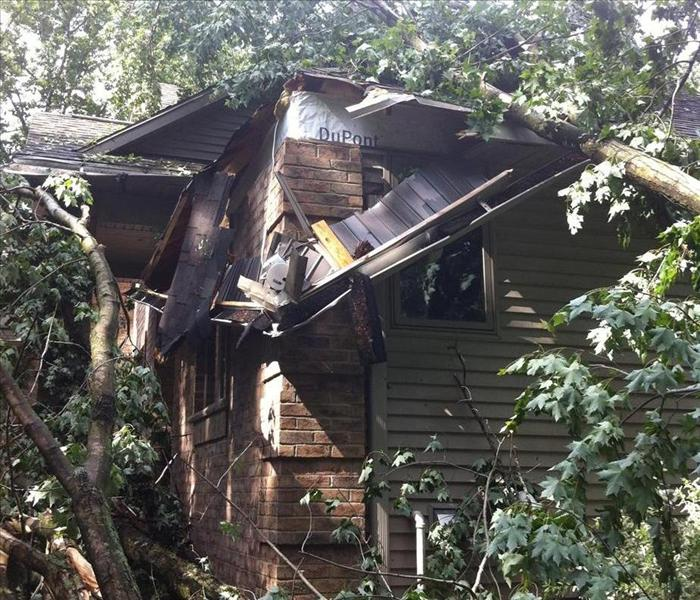 SERVPRO Responds AfterTree Fell On Roof  Before